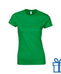 T-shirt dames rond katoen S donkergroen bedrukken