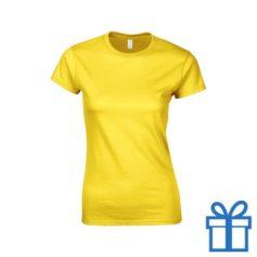 T-shirt dames rond katoen S geel bedrukken