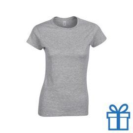 T-shirt dames rond katoen S grijs bedrukken