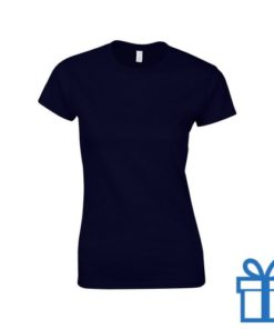 T-shirt dames rond katoen S navy bedrukken