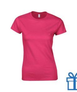 T-shirt dames rond katoen S roze bedrukken