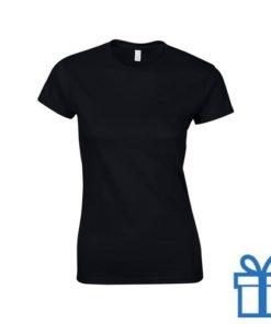 T-shirt dames rond katoen S zwart bedrukken