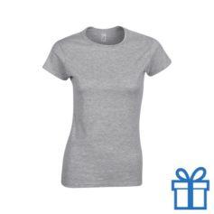 T-shirt dames rond katoen XL grijs bedrukken