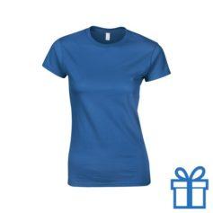 T-shirt dames rond katoen XXL blauw bedrukken