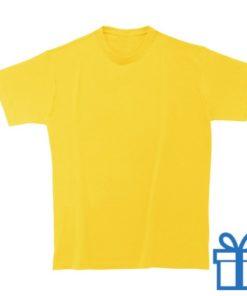 T-shirt kinderen rond zware kwaliteit L geel bedrukken