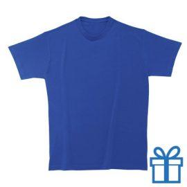 T-shirt kinderen rond zware kwaliteit M blauw bedrukken