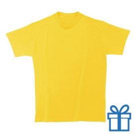 T-shirt kinderen rond zware kwaliteit M geel bedrukken