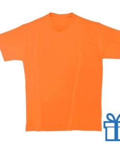 T-shirt kinderen rond zware kwaliteit M oranje bedrukken