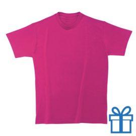 T-shirt kinderen rond zware kwaliteit M roze bedrukken