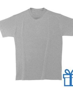 T-shirt kinderen rond zware kwaliteit S grijs bedrukken