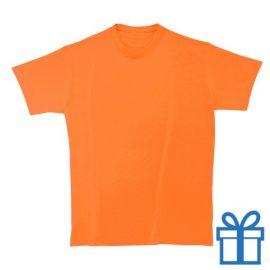 T-shirt kinderen rond zware kwaliteit S oranje bedrukken