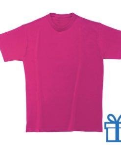 T-shirt kinderen rond zware kwaliteit S roze bedrukken