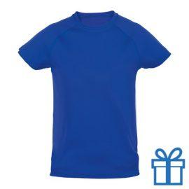 T-shirt kinderen sport ademend poly 10-12 blauw bedrukken