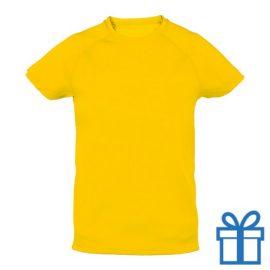 T-shirt kinderen sport ademend poly 10-12 geel bedrukken