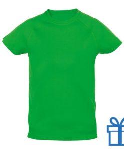 T-shirt kinderen sport ademend poly 10-12 groen bedrukken