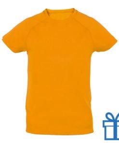 T-shirt kinderen sport ademend poly 10-12 oranje bedrukken