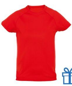 T-shirt kinderen sport ademend poly 10-12 rood bedrukken