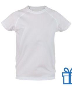 T-shirt kinderen sport ademend poly 10-12 wit bedrukken