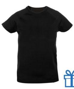 T-shirt kinderen sport ademend poly 10-12 zwart bedrukken