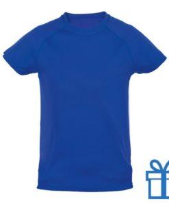 T-shirt kinderen sport ademend poly 4-5 blauw bedrukken