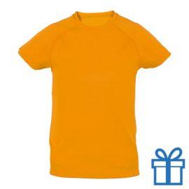 T-shirt kinderen sport ademend poly 4-5 oranje bedrukken