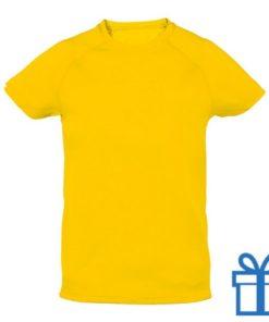 T-shirt kinderen sport ademend poly 6-8 geel bedrukken