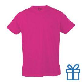 T-shirt kinderen sport ademend poly 6-8 roze bedrukken