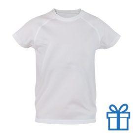 T-shirt kinderen sport ademend poly 6-8 wit bedrukken