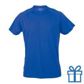 T-shirt sport ademend poly L blauw bedrukken
