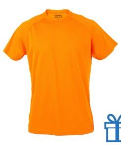 T-shirt sport ademend poly L donkeroranje bedrukken