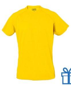 T-shirt sport ademend poly L geel bedrukken