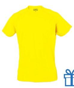 T-shirt sport ademend poly L lichtgeel bedrukken