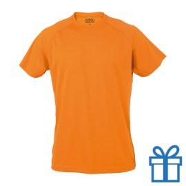 T-shirt sport ademend poly L oranje bedrukken