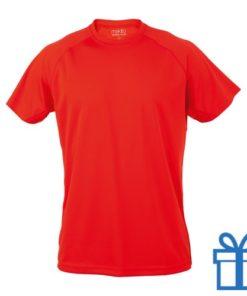 T-shirt sport ademend poly L rood bedrukken