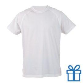 T-shirt sport ademend poly L wit bedrukken