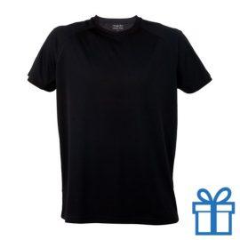 T-shirt sport ademend poly L zwart bedrukken