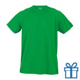 T-shirt sport ademend poly M groen bedrukken