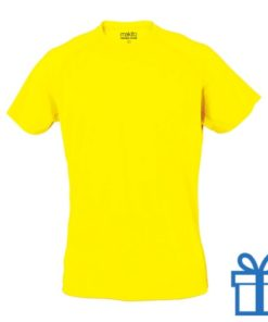 T-shirt sport ademend poly M lichtgeel bedrukken