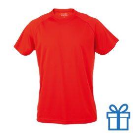 T-shirt sport ademend poly M rood bedrukken