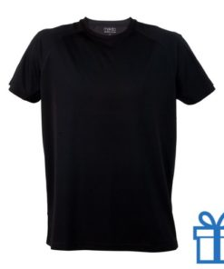 T-shirt sport ademend poly M zwart bedrukken