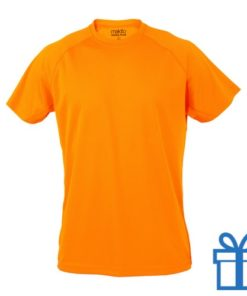 T-shirt sport ademend poly S donkeroranje bedrukken