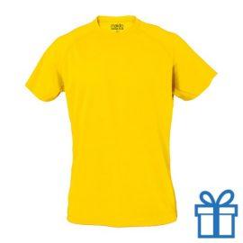 T-shirt sport ademend poly S geel bedrukken