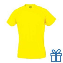 T-shirt sport ademend poly S lichtgeel bedrukken