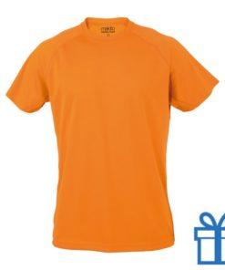 T-shirt sport ademend poly S oranje bedrukken