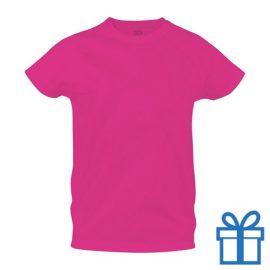 T-shirt sport ademend poly S roze bedrukken