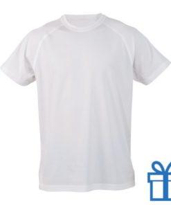 T-shirt sport ademend poly S wit bedrukken