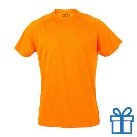 T-shirt sport ademend poly XXL donkeroranje bedrukken