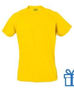 T-shirt sport ademend poly XXL geel bedrukken