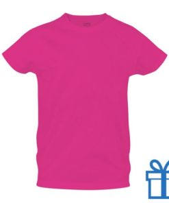T-shirt sport ademend poly XXL roze bedrukken