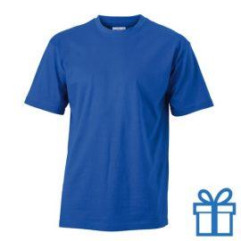 T-shirt unisex katoen ronde hals L blauw bedrukken